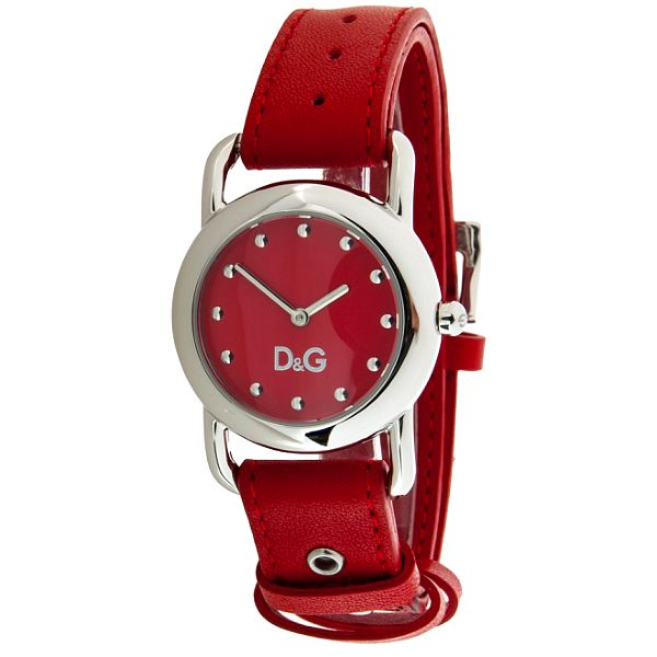 Dámské ocelové hodinky Dolce & Gabbana s červeným koženým řemínkem