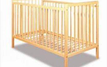 SCP IVY - Klasická dřevěná postýlka 120x60 cm,pohovací dno 3 pozice