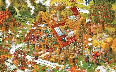 Značkové Puzzle HEYE 1500 dílků - M.Ryba, Legrační farma / Triangular