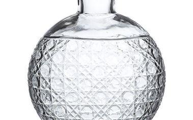 Luxusní skleněná váza s broušeným zdobením, silné čiré sklo Cutting 30 cm