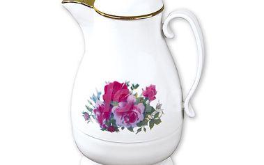 Elegantní termoska - konvice na čaj s krásným květinovým motivem