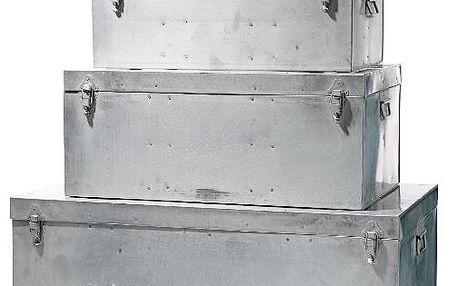 Zinkový box - truhlička se zavíráním na panty. Uvnitř řetízek, který drží víko boxu při otevření.