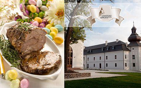 Prežite Veľkonočné sviatky v nezameniteľnom prostredí renesančného kaštieľa Château Appony. Welcome drink, večera s tradičnými veľkonočnými špecialitami, prekvapenie pre šibačov a hudobná skupina Minárikovci len za 29 €.