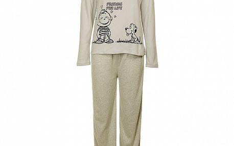 Dámské světle šedé pyžamo Moda Para TI s potiskem - kalhoty a tričko