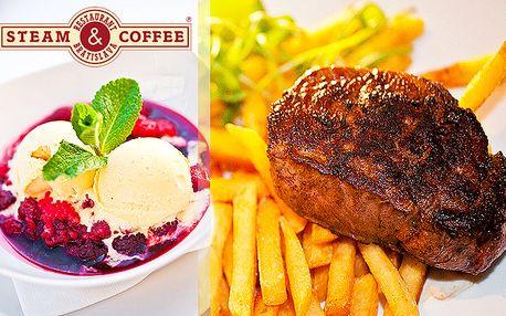 9,90 € za steak z hovädzej sviečkovice na grile s hranolkami a pfeffer alebo prírodnou omáčkou a k tomu ako dezert horúce maliny so zmrzlinou. Obľúbená kombinácia chutí v sieti reštaurácií Steam & Coffee s 50% zľavou.