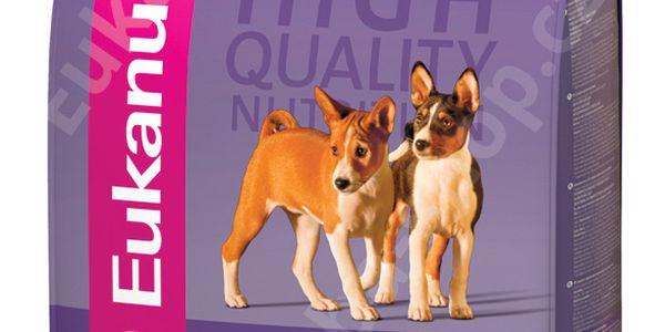 Eukanuba Puppy & Junior Medium Breed 15 kg s bohatým obsahem kuřecího masa.
