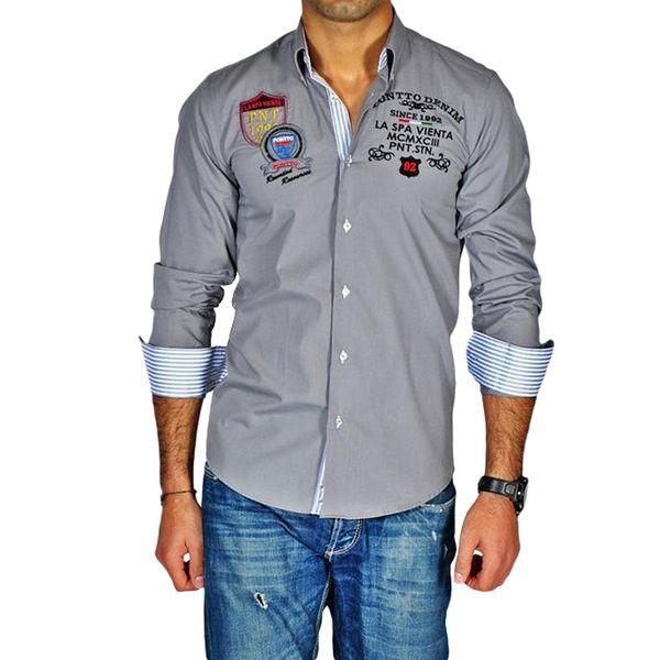 Pánská košile Pontto šedá s potiskem