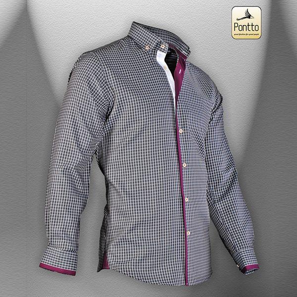 Pánská košile Pontto vínová kostička