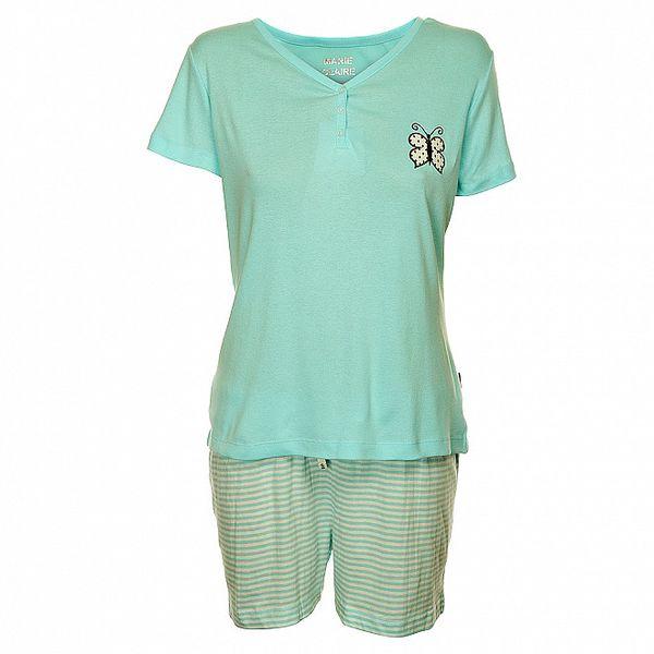 Dámske svetlo modré pyžamo Marie Claire s potlačou - šortky a tričko