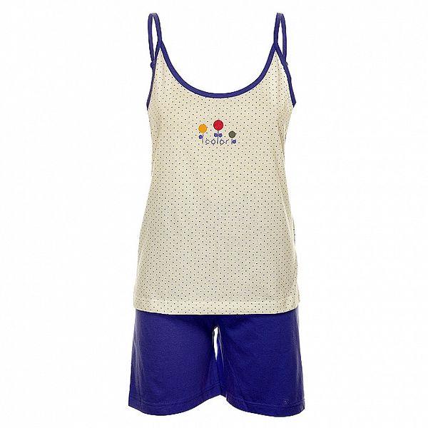 Dámske modro-biele pyžamo Isma - šortky a tielko