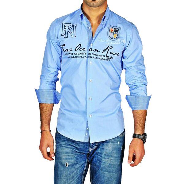 Pontto pánská košile bledě modrý potisk