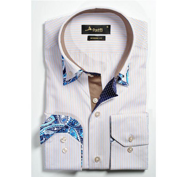 Pontto pánská košile krémová květovaný lem