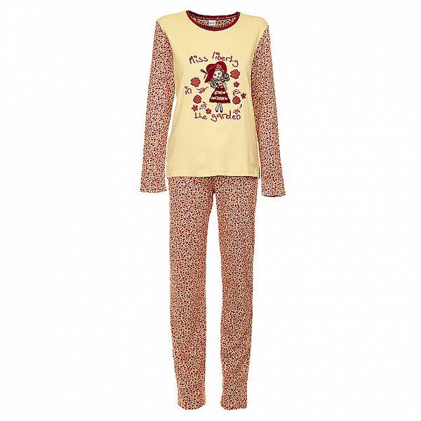 Dámske vínovo-ružové pyžamo Admas s potlačou - nohavice a tričko