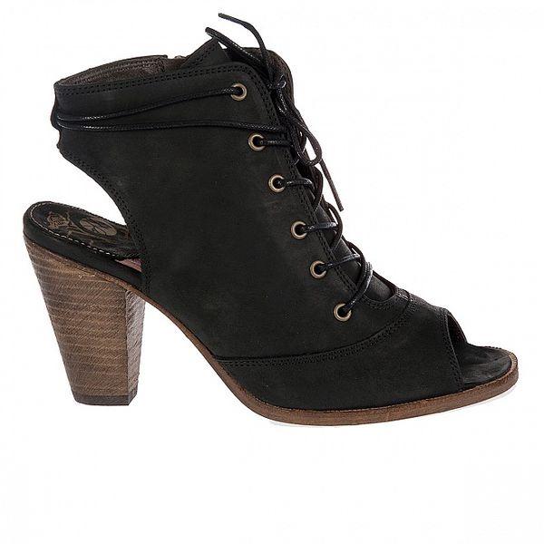 Dámske čierne kotníkové topánky Hudson s vykrojenou špičkou a pätou