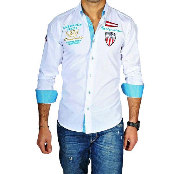 Pánská košile Pontto bílo-tyrkysová s potiskem