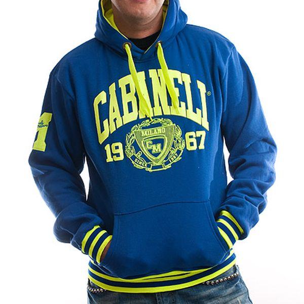 Pánská modrá se žlutým nápisem Cabaneli