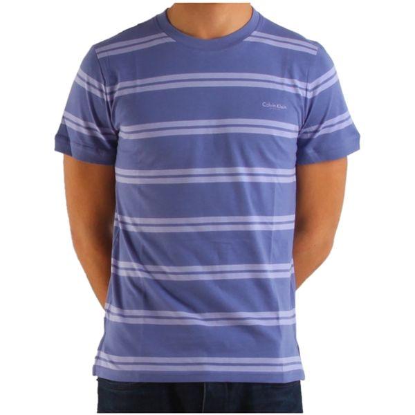 Pánské triko Calvin Klein fialové pruhované