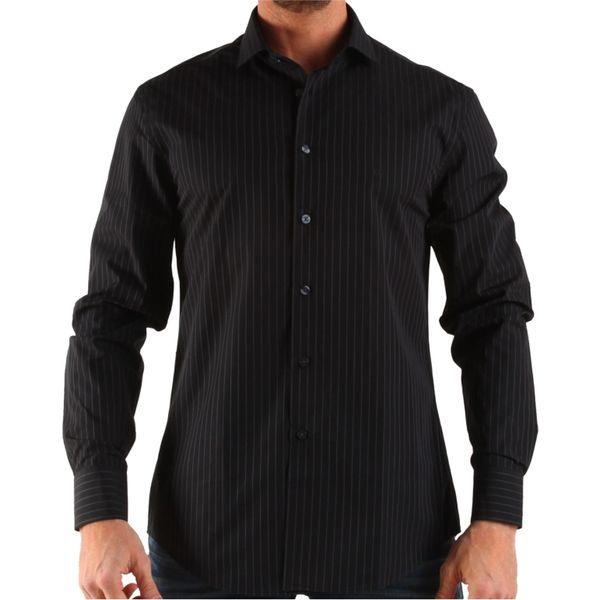 Pánská košile Calvin Klein černá šedý proužek