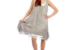 Dámske šedohnedé romantické šaty Anabelle
