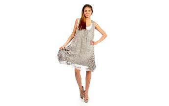 Dámské šedohnědé romantické šaty Anabelle