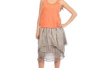 Dámska hnedá vrstvená sukňa s opaskom Anabelle