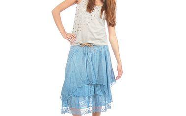 Dámska modrá vrstvená sukňa s opaskom Anabelle