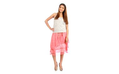 Dámská korálová vrstvená sukně s páskem Anabelle