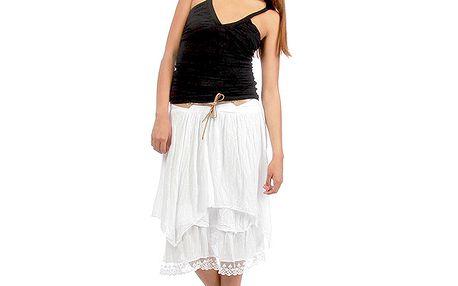 Dámska biela vrstvená sukňa s opaskom Anabelle