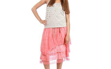 Dámska korálová vrstvená sukňa s opaskom Anabelle