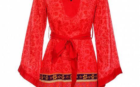 Dámske žiarivé červené šaty s dekoráciou od Savage Culture