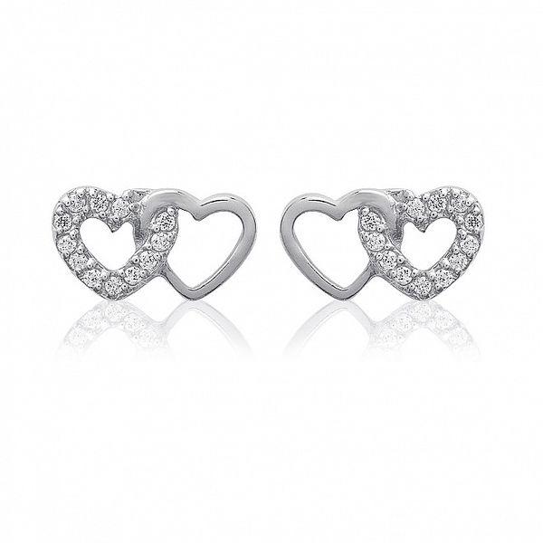 Dámské stříbrné náušnice ze dvou srdcí se zirkony La Mimossa