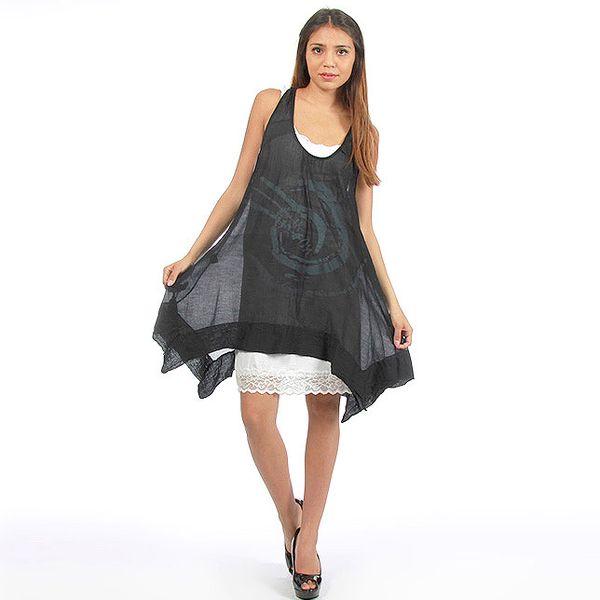 Dámske čierne šaty s veľkou potlačou Anabelle
