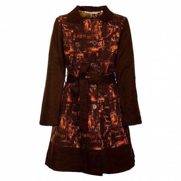 Dámsky hnedý kabát s batikováním Savage Culture