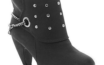 Černé kotníčkové boty s nýty a řetízkem