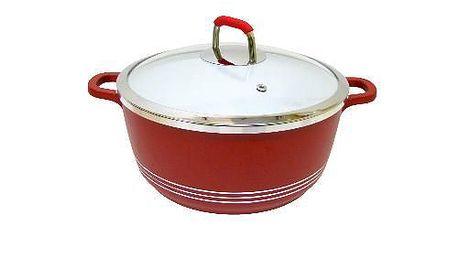 Hrnec Provence 270305, 20cm - s poklicí, červená barva, keramika