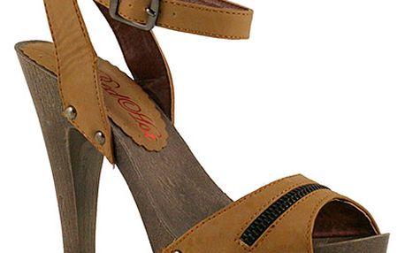 Vysoké sandálky v barvě velbloudí srsti