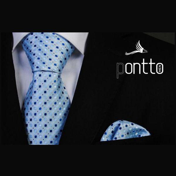 Pánská kravata Pontto světle modrá s puntíky