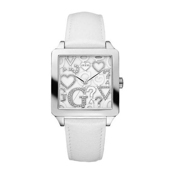 Dámské hodinky Guess bílo-stříbrné hranaté se zdobením