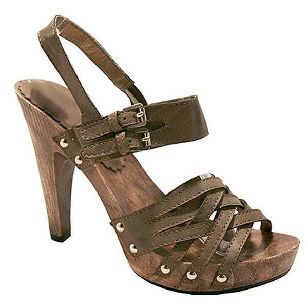 Spletené khaki sandálky