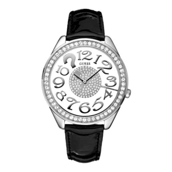 Dámské hodinky Guess stříbrné černý pásek