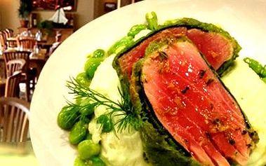 2x steak z tuňáka, bramborové pureé, ragú z Fava fazolek!