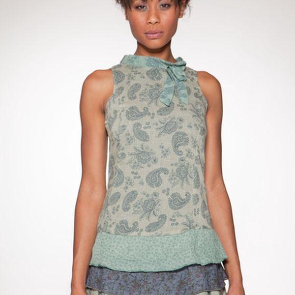Dámske zelenkavé minišaty s vrstvenou sukňou Ian Mosh