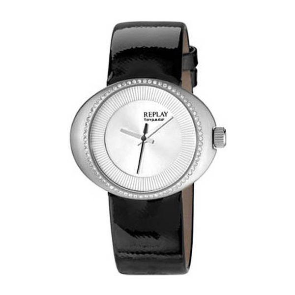 Dámské hodinky Replay stříbrné s kamínky černý řemínek