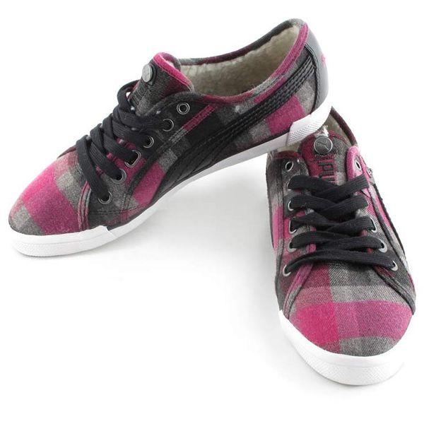 Dámské tenisky Puma růžovo-černé kostičkované