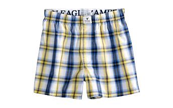Trenýrky American Eagle AE Plaid Slim Boxer Blue - vyrobeny ze 100% česané bavlny