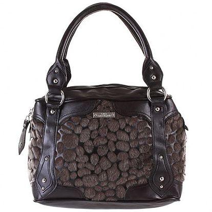 Hnědo-bronzová kabelka s kožešinou (Laura Biagiotti)