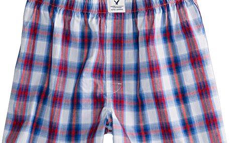 Trenýrky American Eagle AE Plaid Slim Boxer Red ze 100% česané bavlny