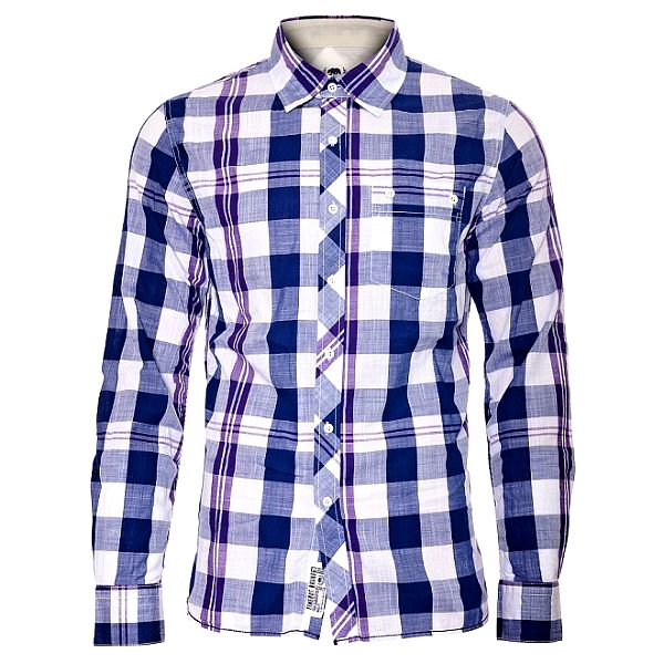 Pánská modrofialová kostkovaná košile Timeout