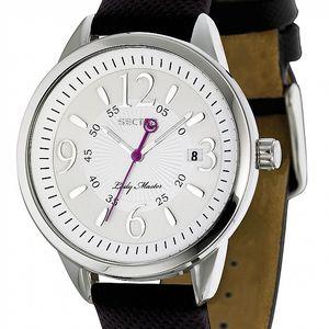 Dámske oceľové hodinky Sector s čiernym koženým remienkom