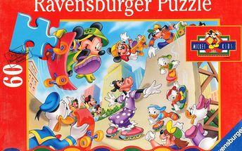 Puzzle pro děti RAVENSBURGER 60 dílků - Mickey Mouse: Na kolečkách